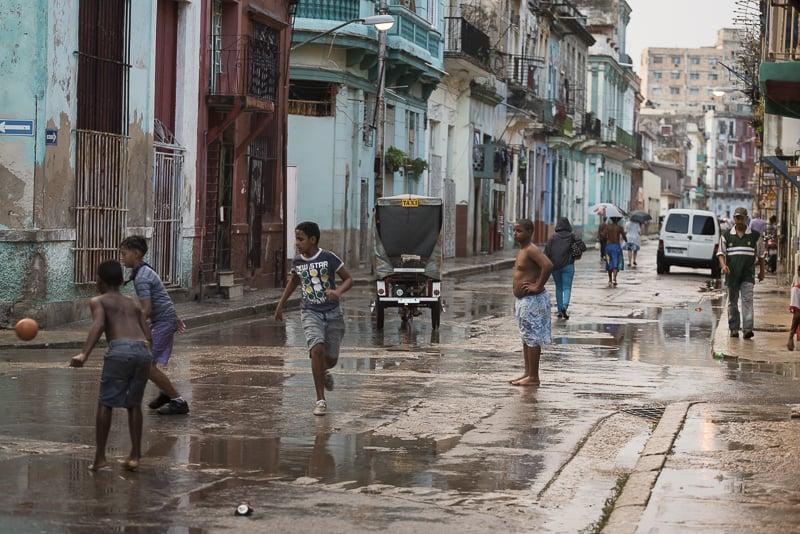 Barefoot soccer, Havana, Cuba