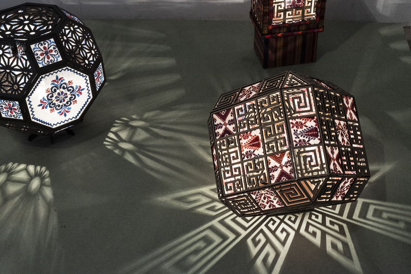 Palestinian embroidery embedded in a designer lamp