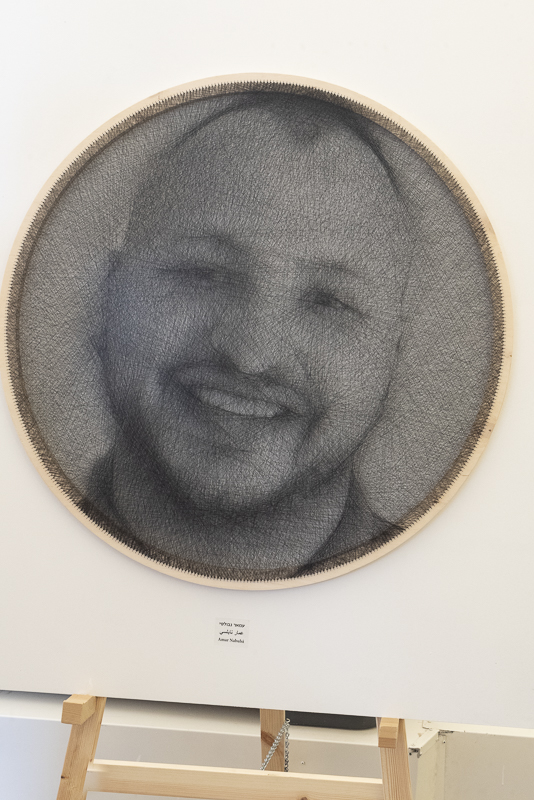 """The common thread"" - portraits of the Arab workers of Hansen House drawn with thread by a CNC machine!"