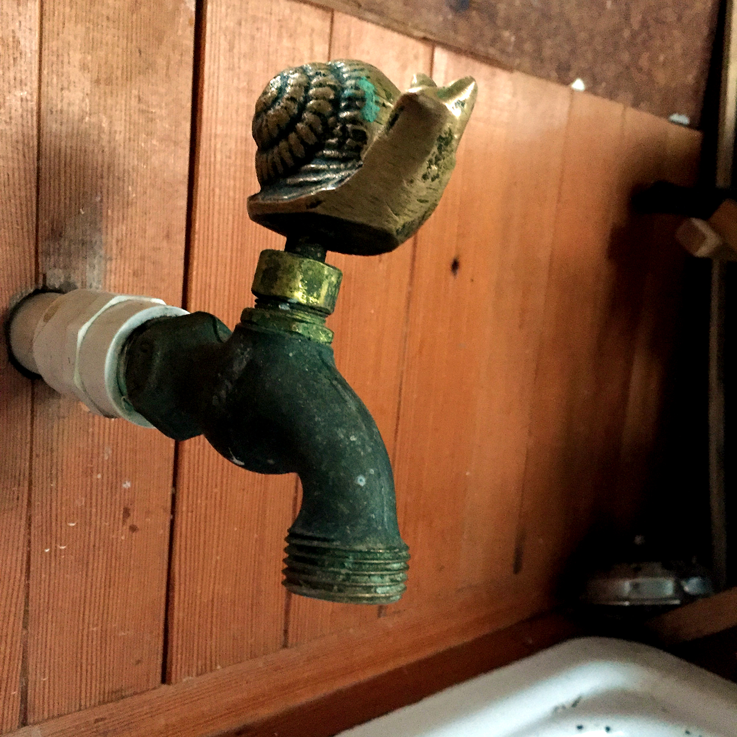 The cabin is equipped with only one water source. This single tap brings running water (pumped up from the bike) into the kitchen, allowing guests the convenience of washing hands and dishes inside.