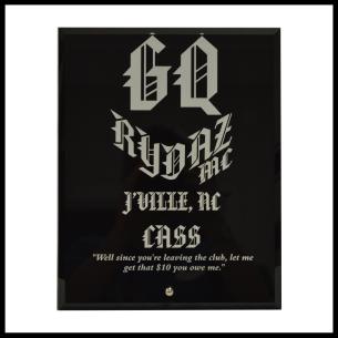 Plaque Style 7  8x10 Black Glass w/ 1 Logo