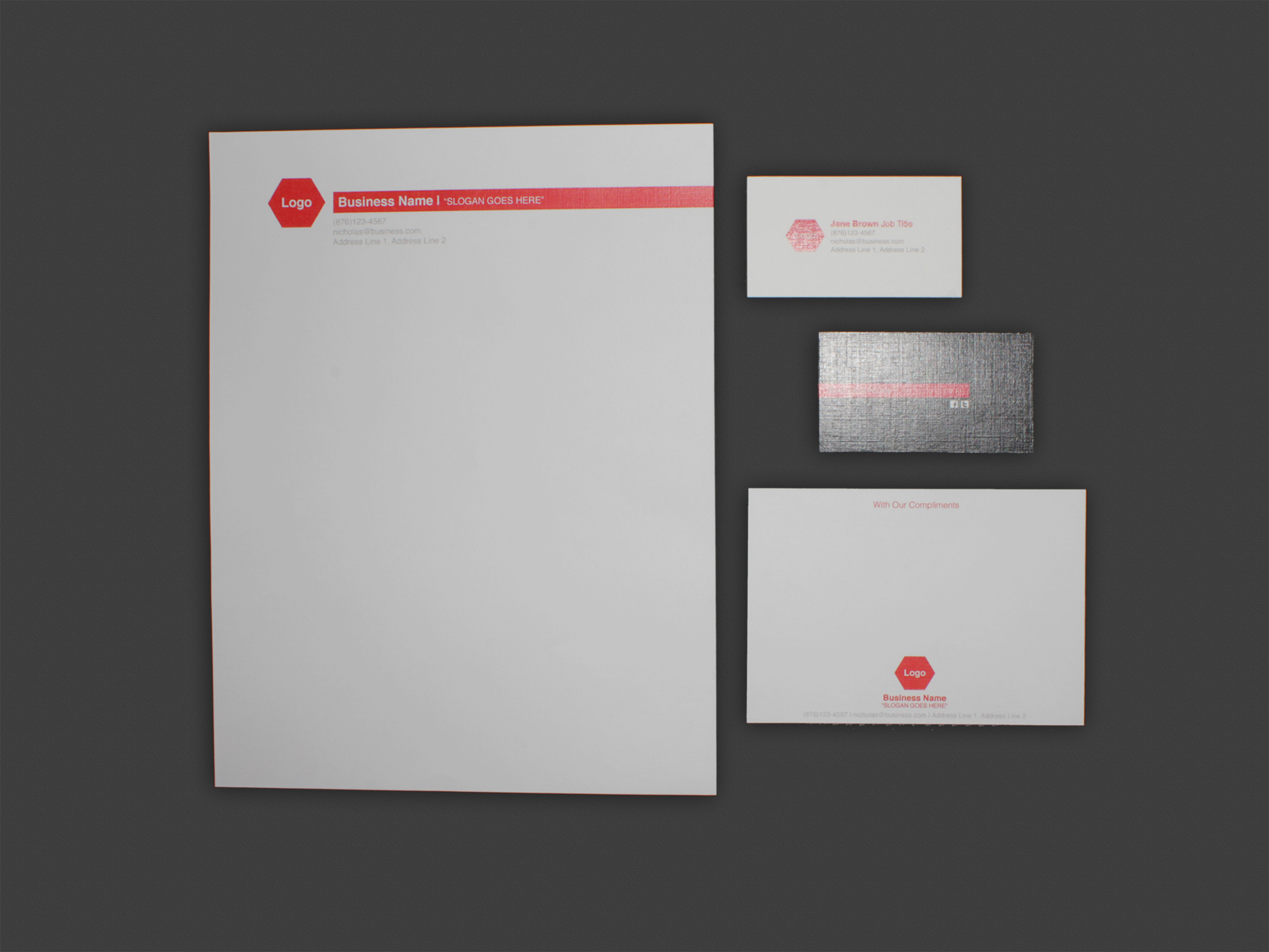 Stationery Set - Letterhead + Comp. Slip + Business Cards