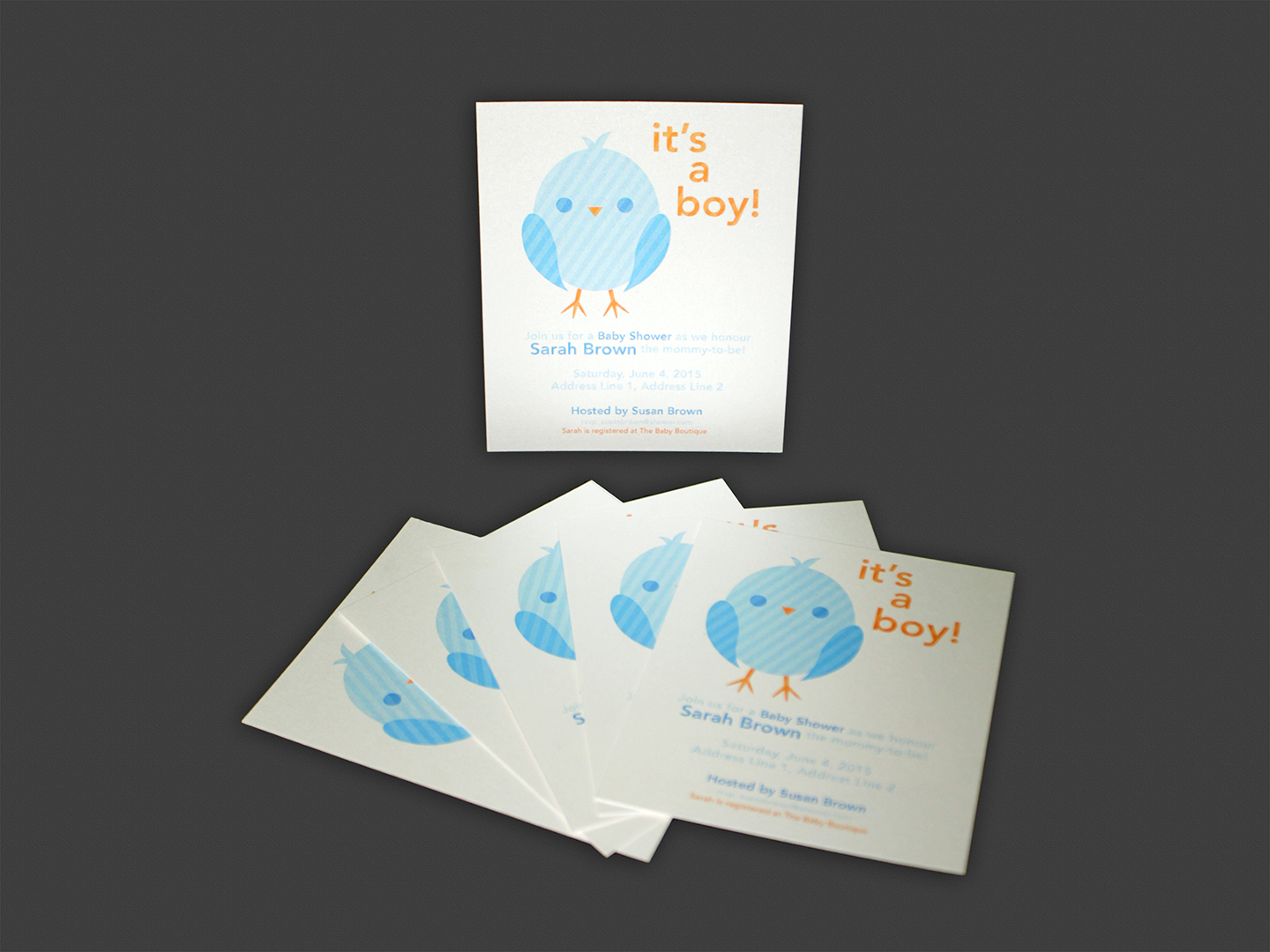 "5"" X 5"" BABY SHOWER INVITATION ON SPECIALTY CARD 