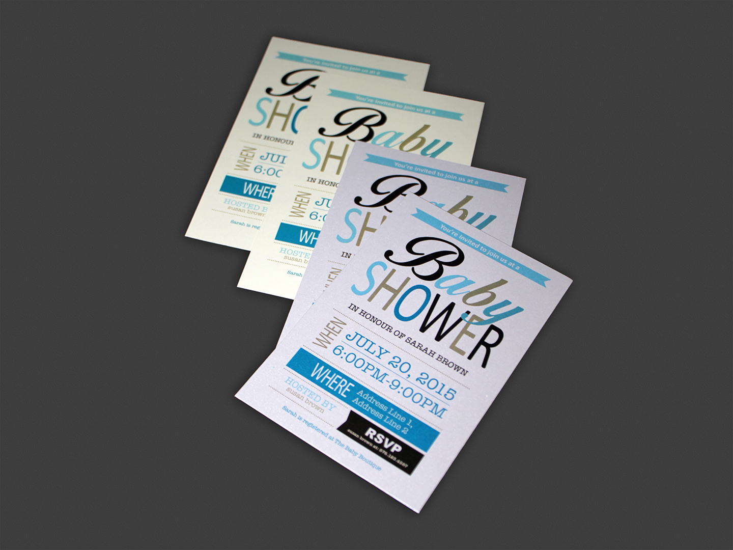 "4"" X 6"" BABY SHOWER INVITATION ON SPECIALTY CARD 