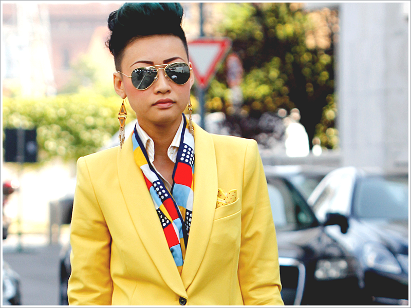 Esther Quek of The Rake // Focus: Everything! Her specs, suit, and scarf-for-tie!