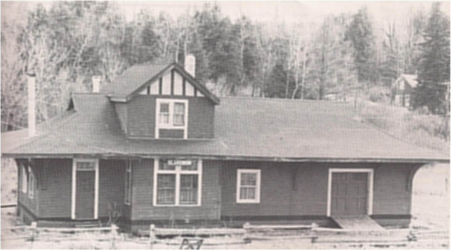 "The ""new"" Clarendon Station; the old one burned down in 1917. This building still exists and we pass by it on the trip ""K&P Trail: End to End"". Photo: D.W. McCuaig."