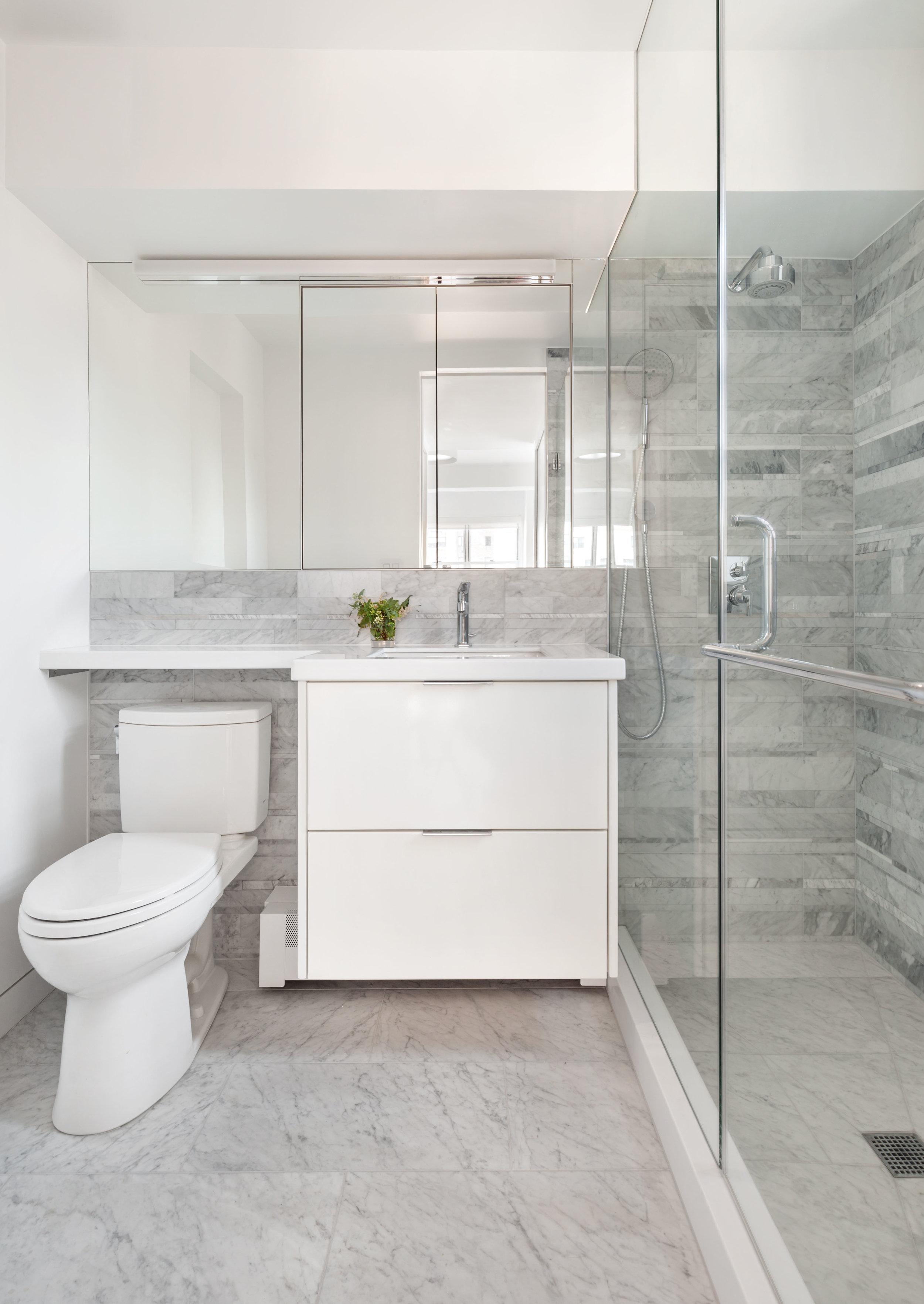 Marble Master Bathroom with Custom Vanity