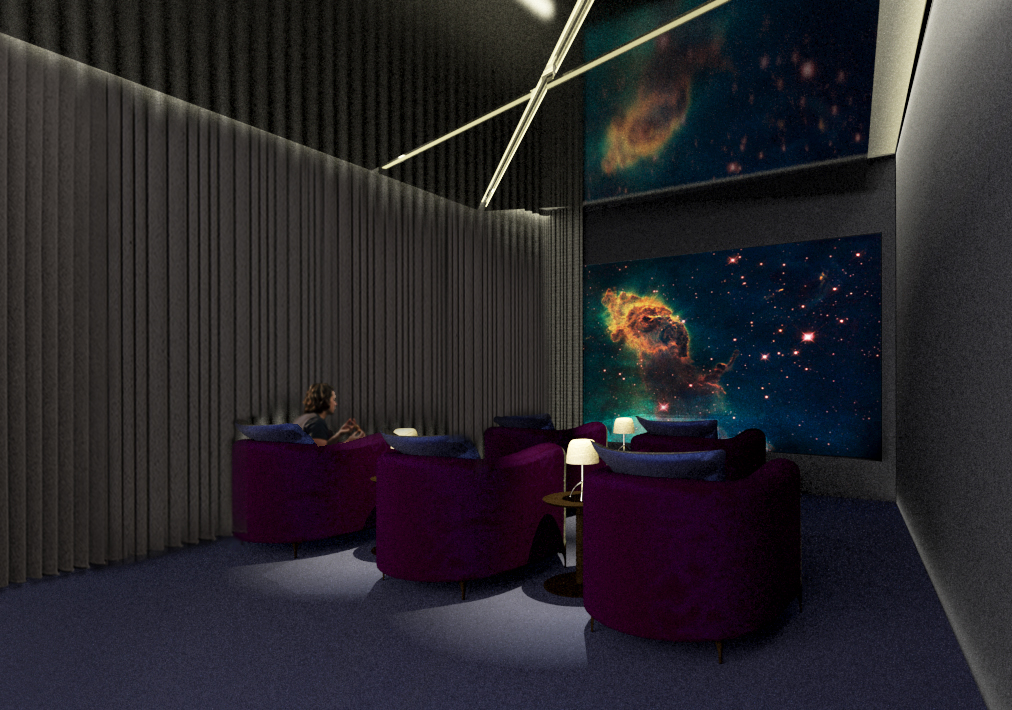 "SCREENING ROOM: The ""black box"" screening room interior was designed for comfort, including plush lounge seating with personal side tables and dim table lamps, and an undulating wool felt architectural wall finish that is acoustically absorptive."
