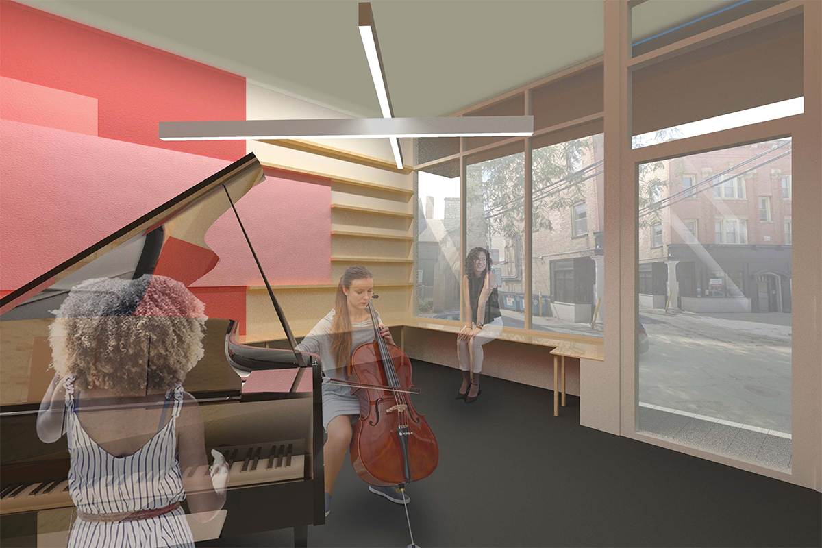 PERFORMANCE ROOM AT STOREFRONT: The only existing space to remain,  weetu  designed integrated wood benches for viewers within the larger performance room, which also allow for additional waiting space along the storefront when the room is not in use. Vibrant magenta tones and acoustic panels are layered on the wall, referencing ACM's magenta brand color within the existing logo.