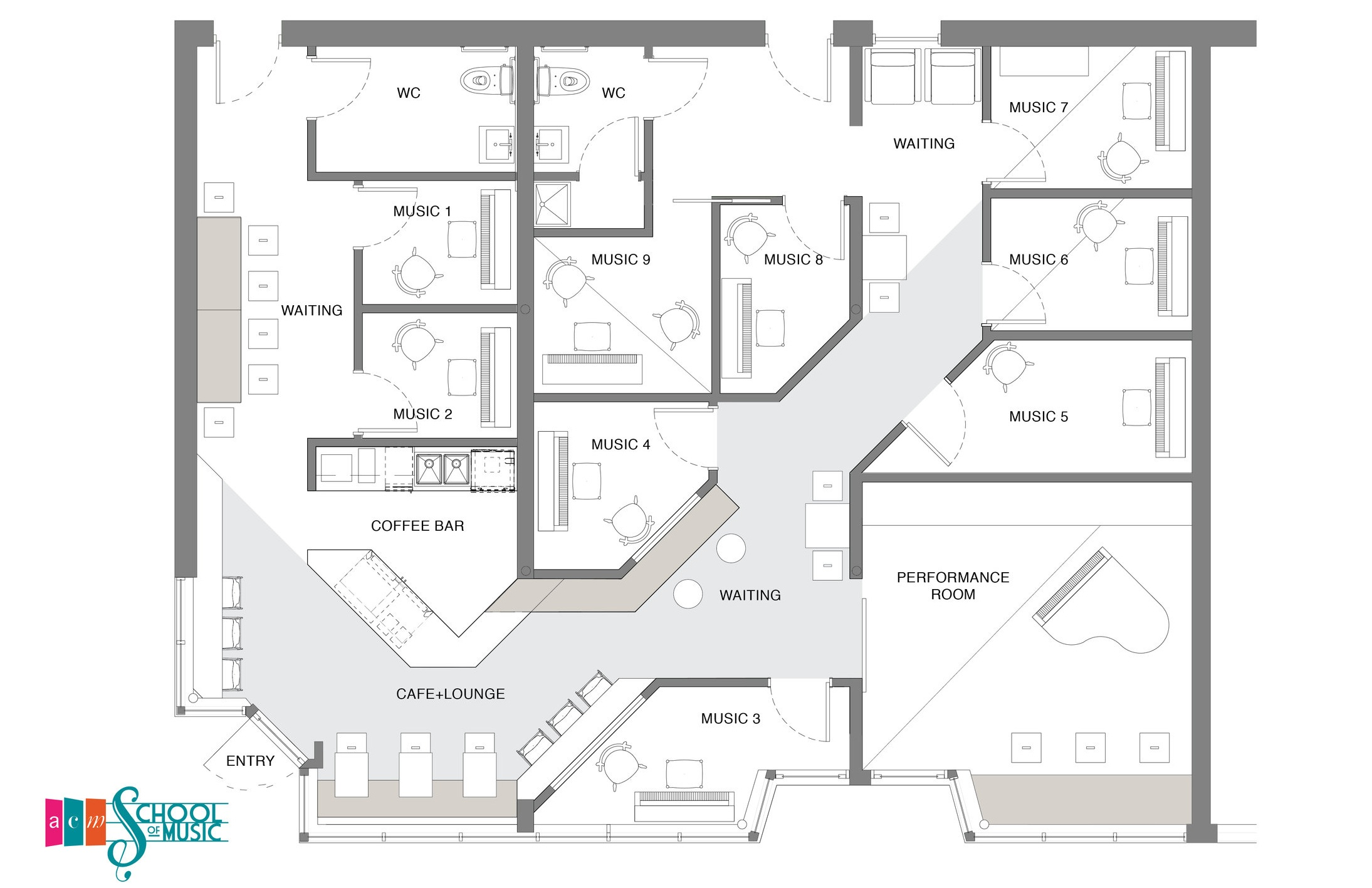 PLAN: The existing plan, which started out as three separate storefronts, lacked flow and efficiency of square footage.  weetu  was inspired by the movement of sound and created a kinetic path to unify the space, allowing for clear and direct wayfinding from public zones to the classrooms.