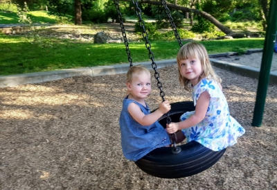 I mean, they are beautiful! (The girls enjoying the park and greenbelt behind our new house)