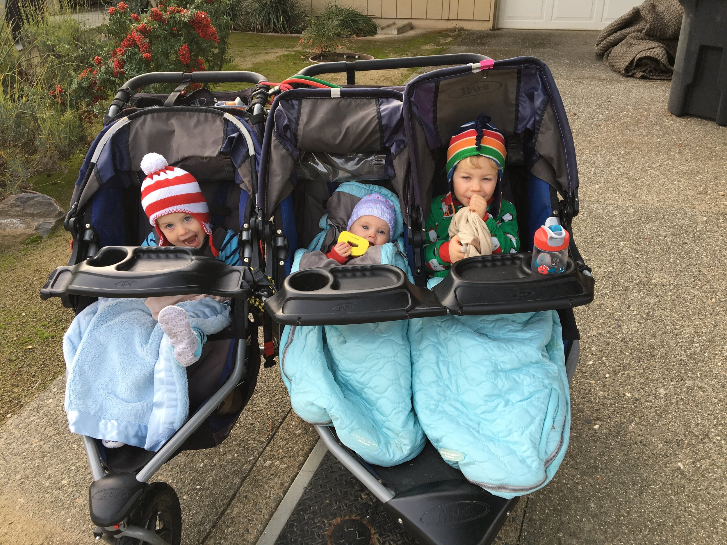 Doesn't get more extreme than Fit4Mom Davis' Stroller Strides--with three kids under 4 and a homemade MacGyvered triple Bob stroller 😃