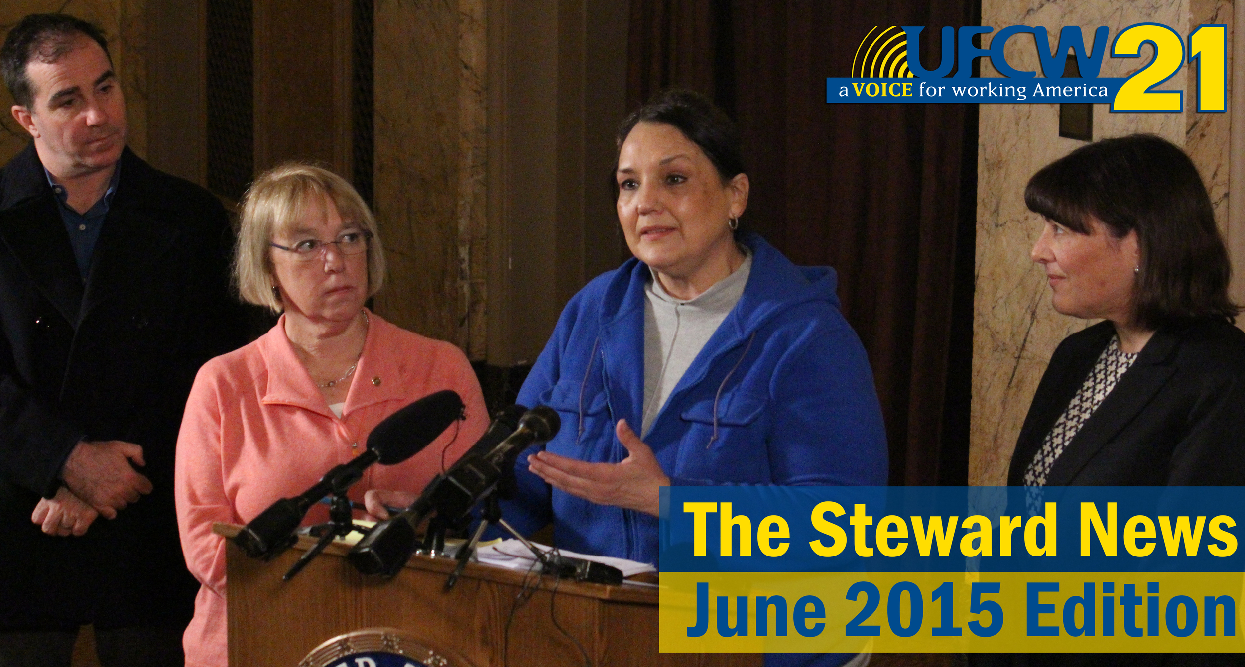 Adriana Calzada, a        Seafood Steward at Fred Meyer, Speaks to reporters on the importance of passing national Paid Sick Leave legislation through Congress while flanked by U.S. Senator Patty Murray and Congresswoman Susan Delbene.