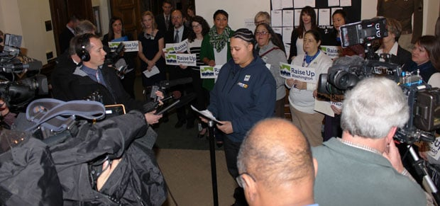 Ariana Davis (shown here), a UFCW 21 grocery member from Safeway and Jane Teske, a UFCW 21 health care member from Providence both spoke at the kick off press conference this morning in the Washington Secretary of State's office after the initiative was officially filed.