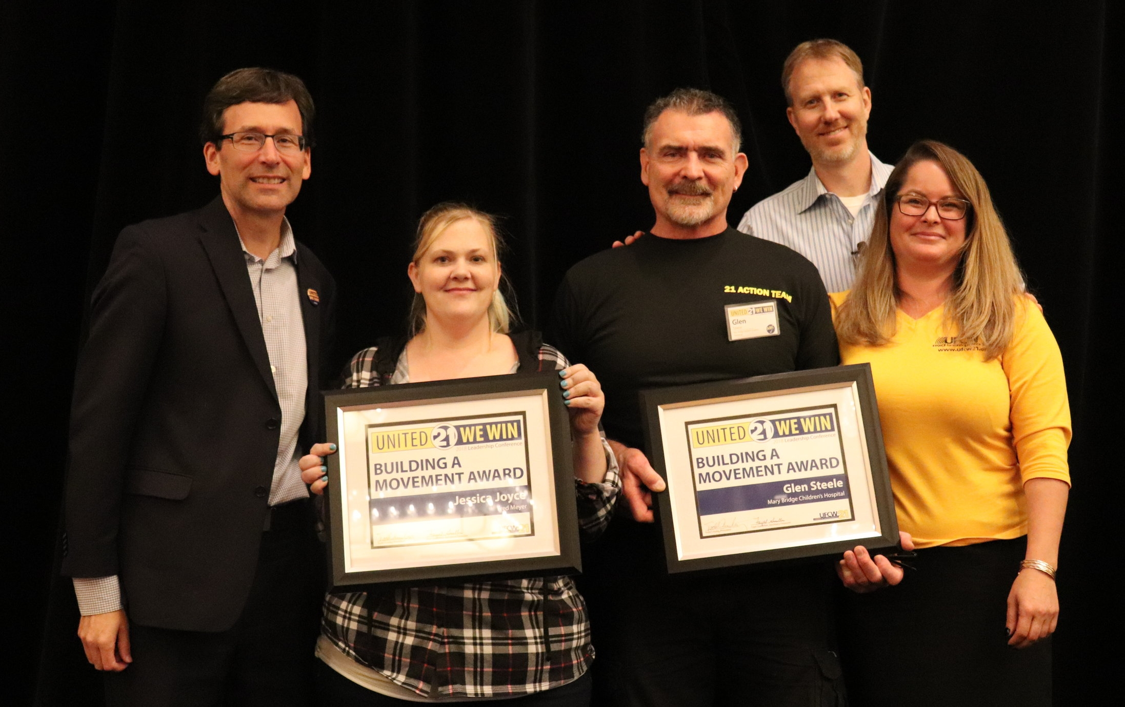 Building A Movement Award winners Jessica Joyce from Fred Meyer and Glen Steele from Mary Bridge Children's Hospital