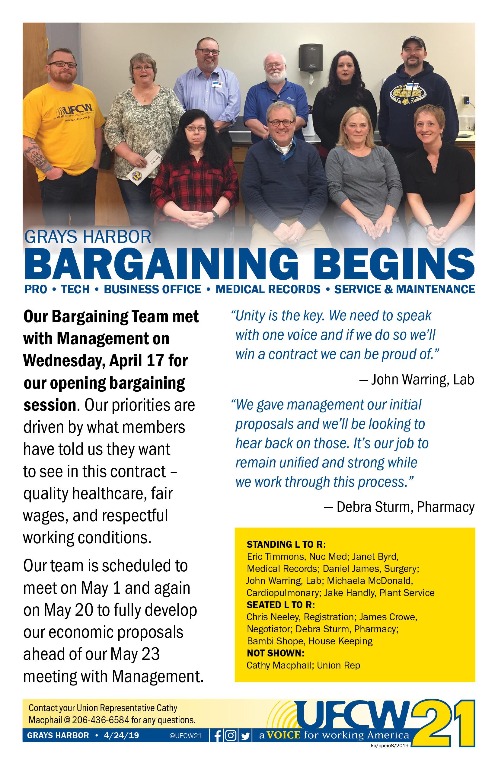 Grays Harbor - Bargaining Begins — UFCW 21