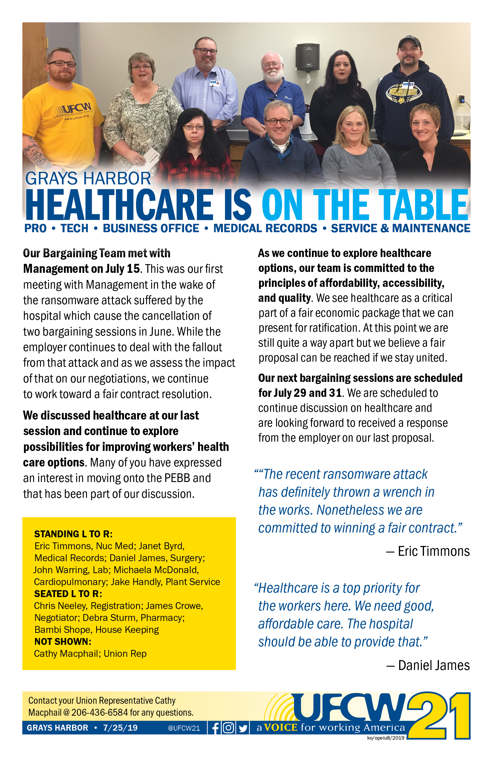 Grays Harbor - Healthcare Is On The Table — UFCW 21