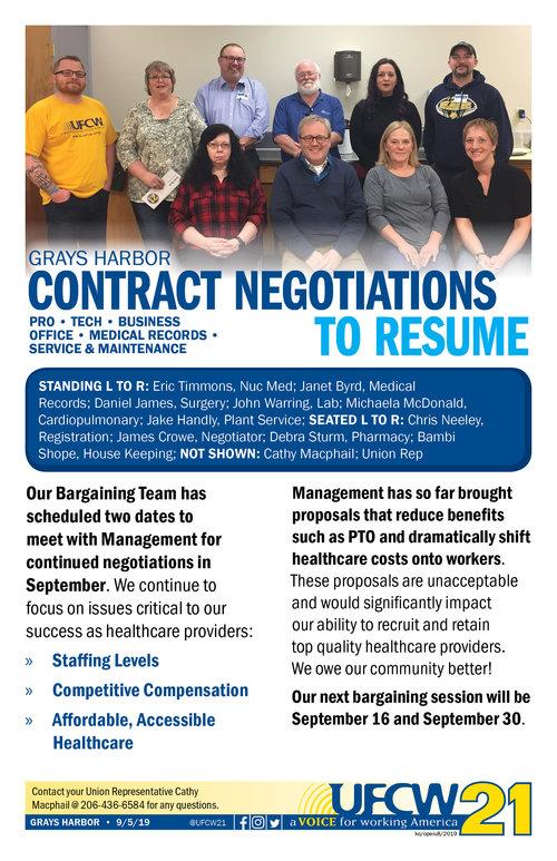 Grays Harbor - Contract Negotiations to Resume — UFCW 21