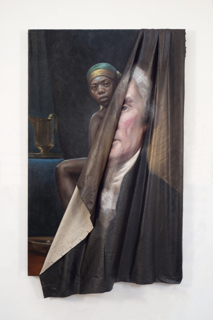stormwolff :     app1e-pi :      scientificphilosopher :        Behind the Myth of Benevolence    by Titus Kaphar (2014)     Fuck me, this is something art can do like nothing else.     This is awesome.
