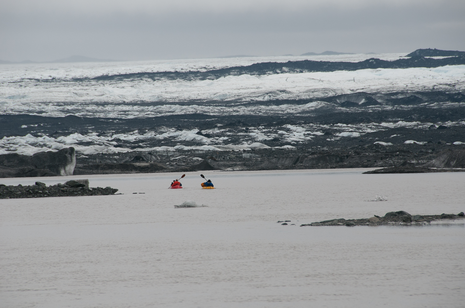 Using Packrafts to Ferry Gear Across Lagoon to Malaspina Glacier