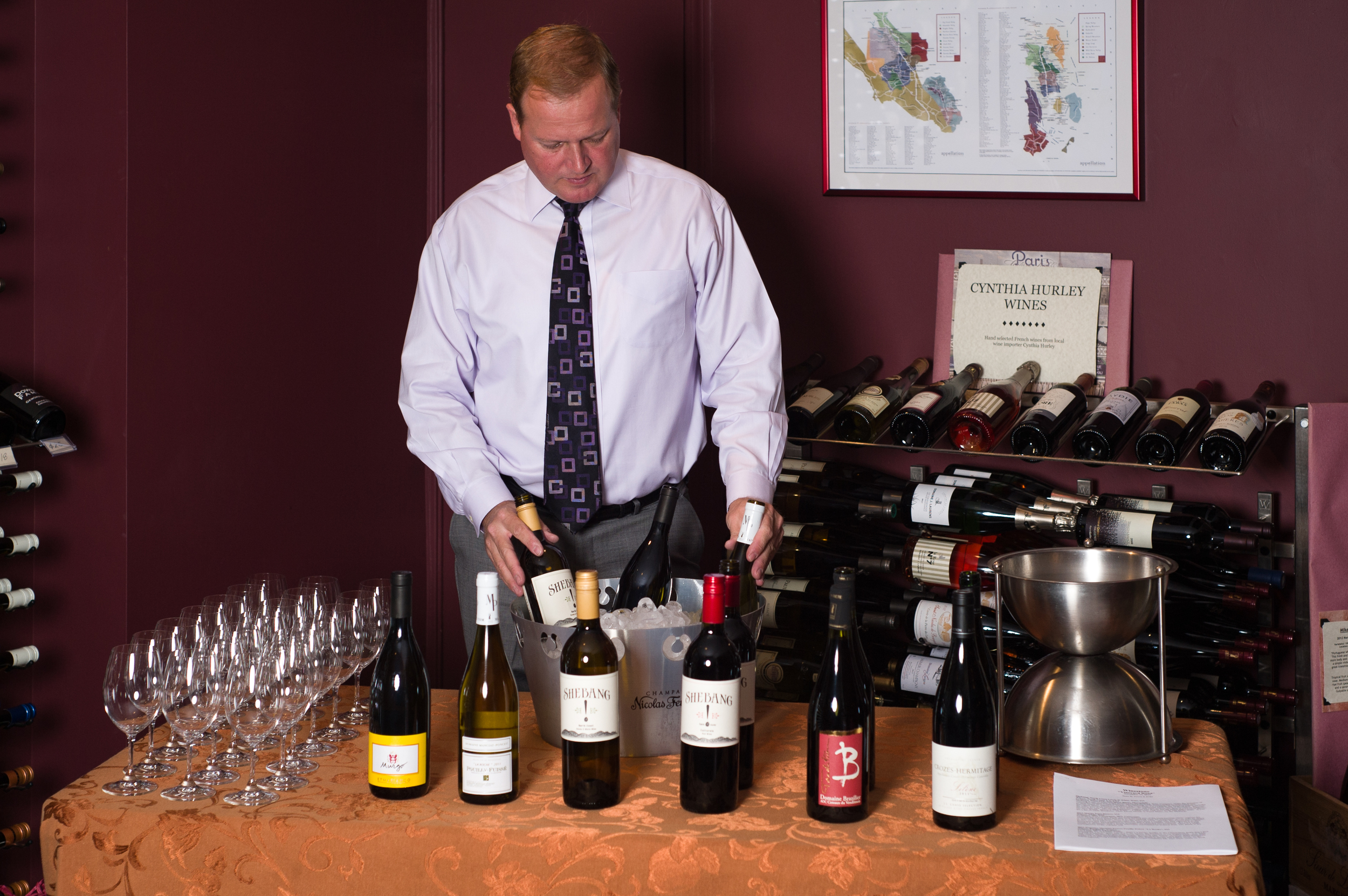 Winestone's Patrick Dubsky sets up a tasting.