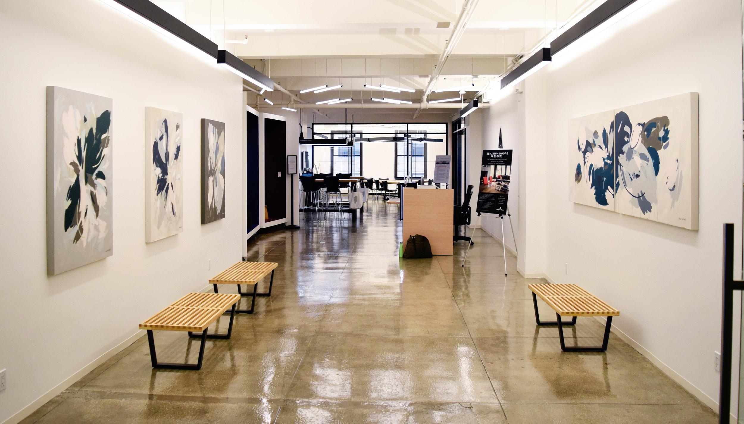 Benjamin Moore's NYC Design Showroom featuring my paintings.