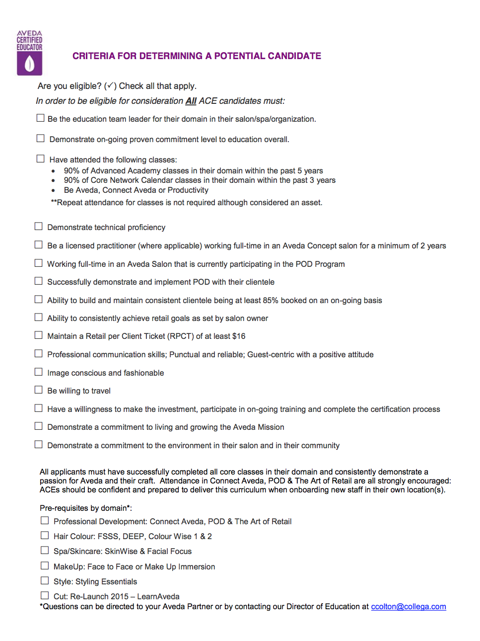 CRITERIA DOCUMENT - CLICK HERE TO DOWNLOAD
