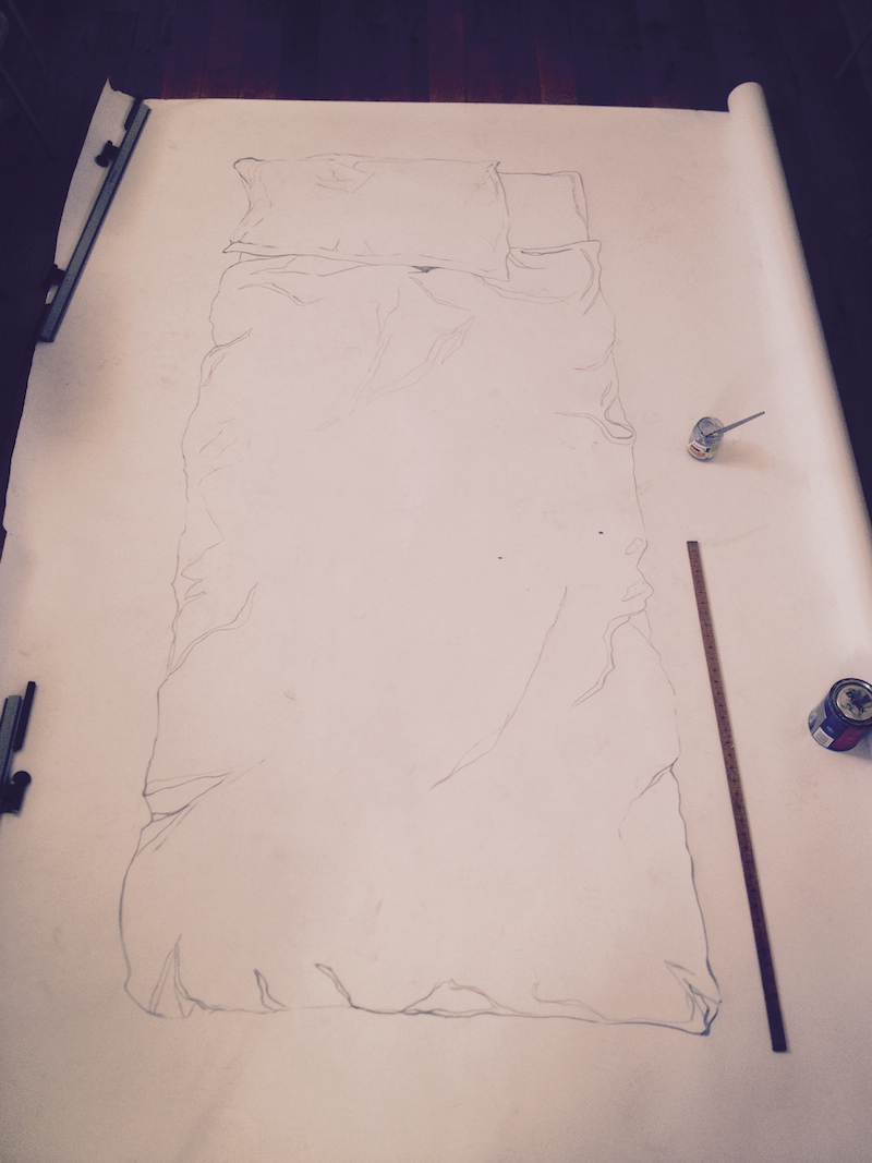 'Black & White II' Floor based Acrylic Line Drawing on Paper - 2.5m x 1.75m