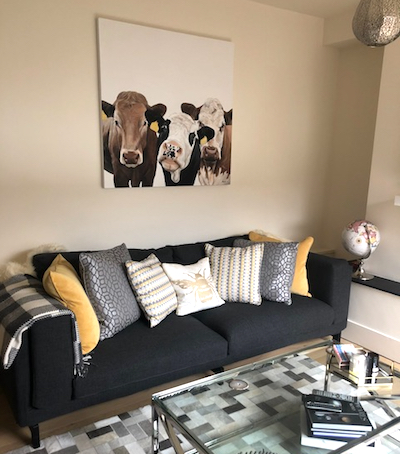 Large Cow Commission - Mar 18This was quite a large piece at 120cm x 120cm. The customer really wanted an impressive piece for that large wall. I just love how the cow's ear tags have been picked out in the colour of the cushions.