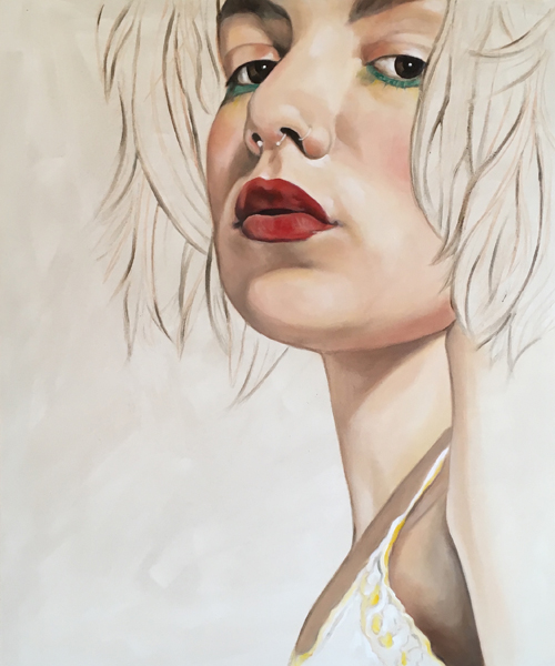 'The Girl With The Green Eyes' 50cm x 60cm Oil on Deep Edged Canvas €750