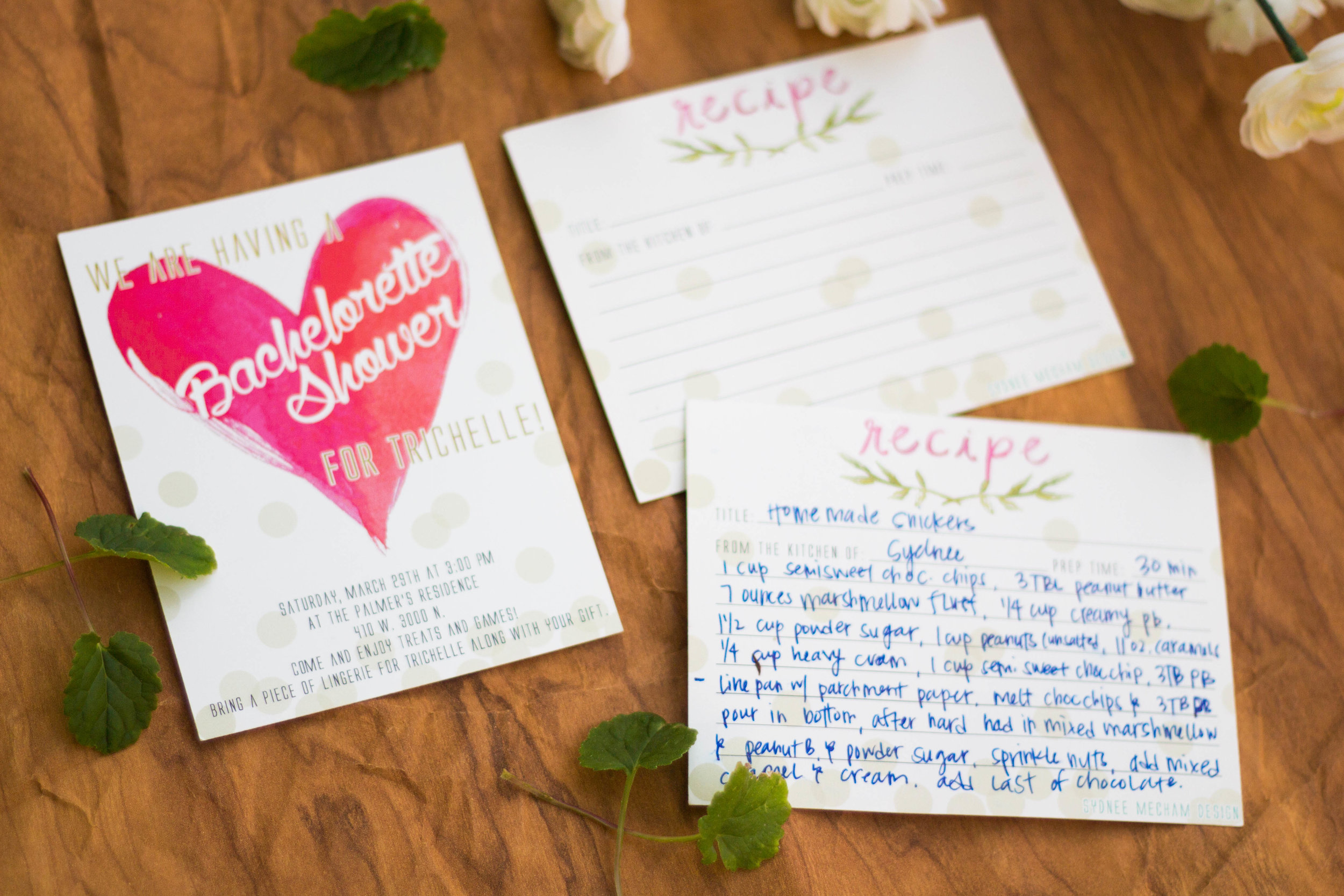 Bridal Shower Invitations   Invitations are my favorite especially when I get to do Bridal Shower invitations! This design features a recipe card on the back that quests can bring back with their favorite recipe