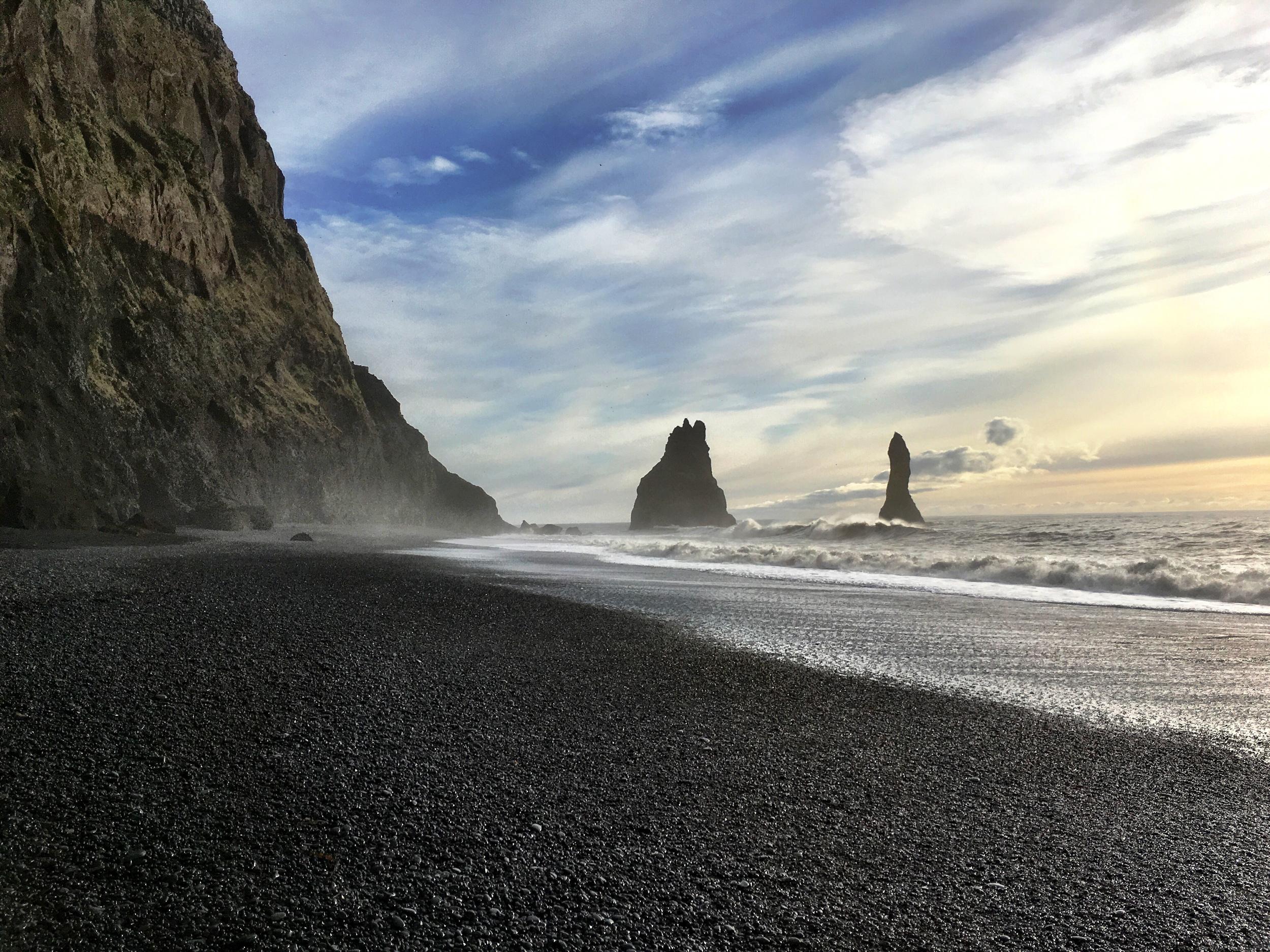 Volcanic sand beach in Vik