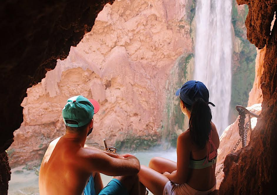 Going through a little cave to get to Havasu Falls