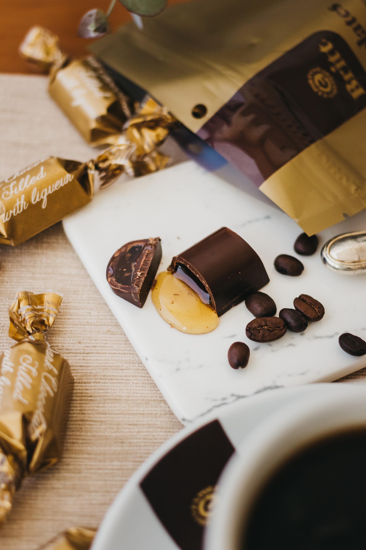 dark chocolate filled coffee liquor