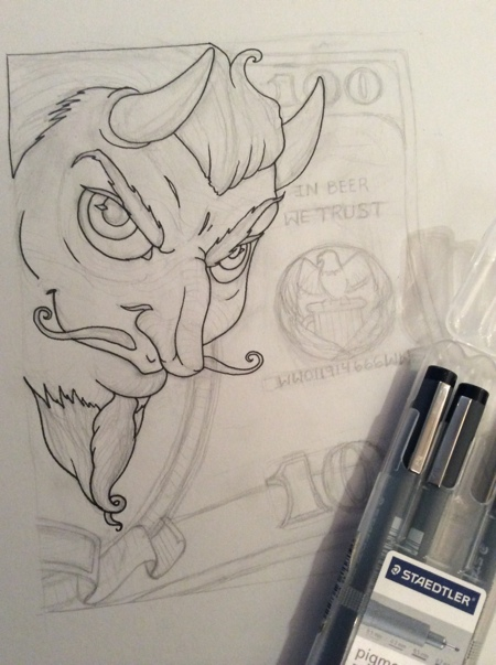 With the sketch approved, I began drawing and finally inking the design.