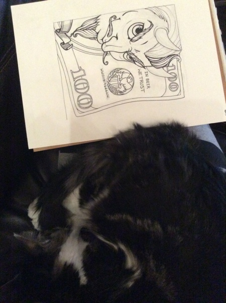 Boo was extra helpful with this one and he kept my lap warm through the chilly inking process.