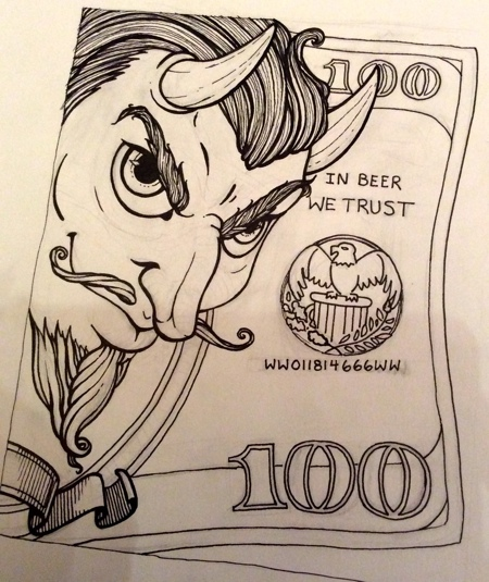 His face was just how I had imagined and I was very pleased with how his hair curled like the ornamentation on a currency bill, but the bill itself...meh!