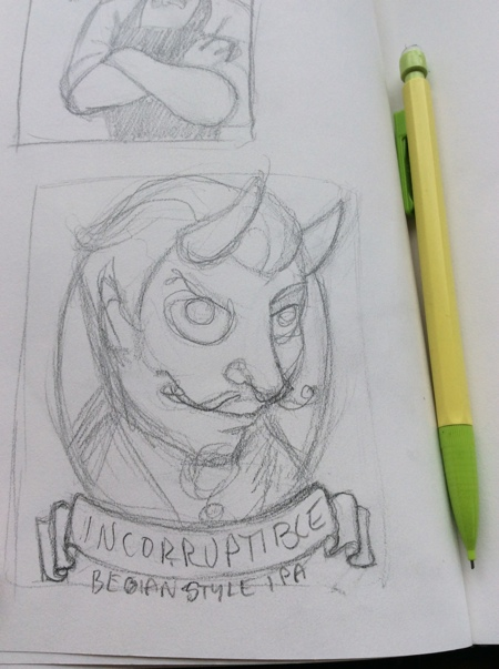 """I roughed out a sketch for a more direct interpretation of the concept and went back to work. Apparently, I have issues spelling """"Belgian!"""""""