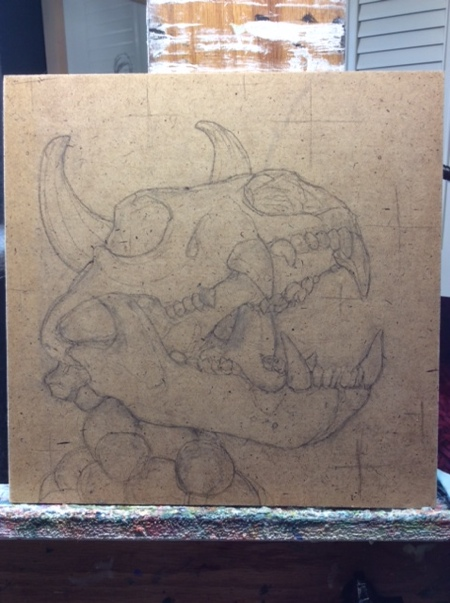 The piece began with a pencil sketch directly on the panel.