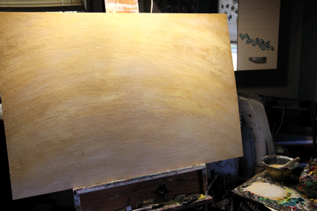 The panel is textured with a heavy modeling gel, then glazed with a mix of cream and gold.