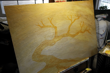 I start lightly blocking in the tree. This form was inspired by traditional bonsai trees and their expressive movements.