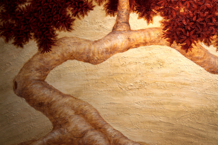 A close up of the tree form coming together.