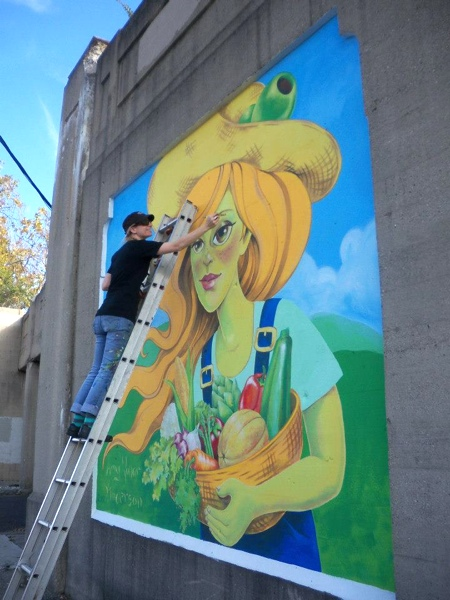 Lisa Helm of Garden Station came by and got some in progress shots. Much thanks to her for organizing the mural project.