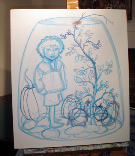 Rough sketch on canvas. Inspired by our warty pumpkin from last Halloween.