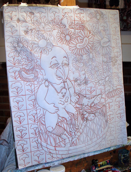 The drawing with the red trace lines. Between the drawing and the canvas is a sheet of transfer paper.