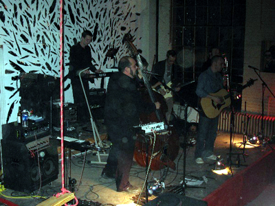 Sleepybird rocking in front of my feather installation. I hand-cut 500 vinyl feathers for the event...