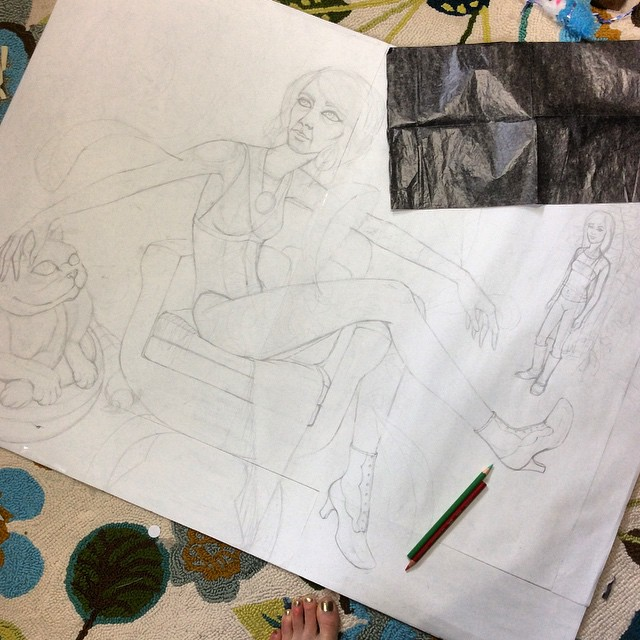 The sketch to scale, then I use carbon paper to transfer it to the panel.