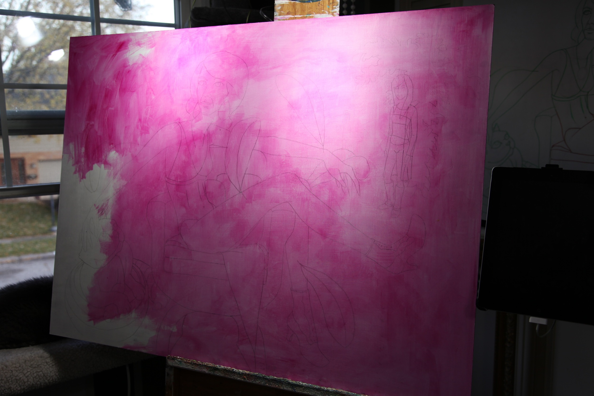 Starting with a wash of magenta, or more specifically, Liquitex Quinacridone.