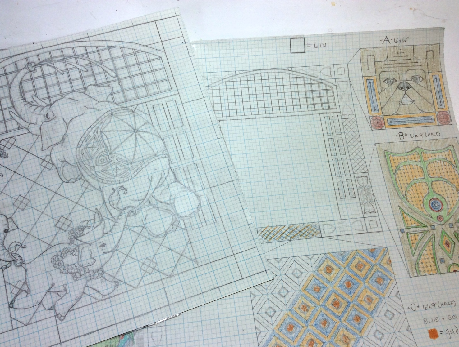 There have been several rounds of scale drawings for every element of the image.