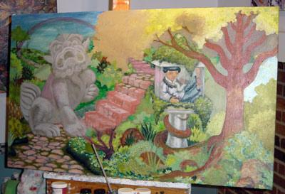 Adding a large sculpture.